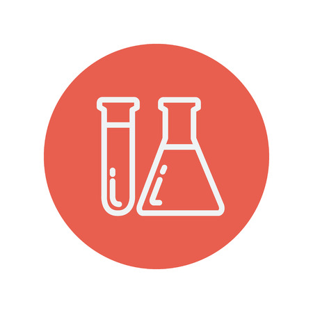 a solution tube: Test tube and beaker thin line icon Medical symbol thin line icon for web and mobile minimalistic flat design. Vector white icon inside the red circle.