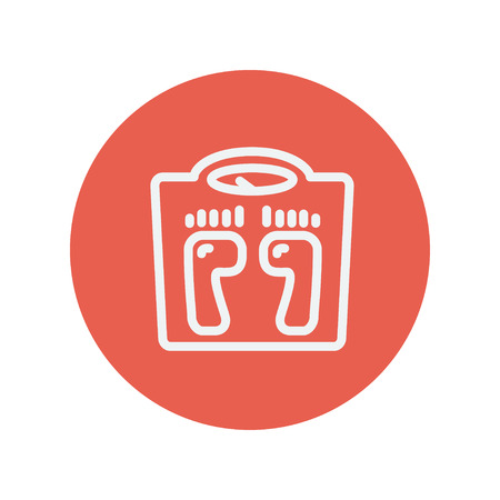 weighing scale: Weighing scale thin line icon thin line icon Medical symbol thin line icon for web and mobile minimalistic flat design. Vector white icon inside the red circle.