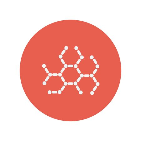 substances: DNA molecules thin line icon for web and mobile minimalistic flat design. Vector white icon inside the red circle.