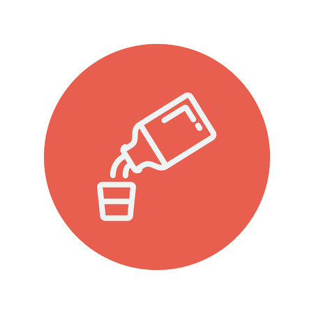Geneeskunde en maatbeker dunne lijn pictogram voor web en mobiele minimalistische platte design. Vector wit icoon in de rode cirkel.