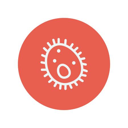 virus cell: Bacteria thin line icon for web and mobile minimalistic flat design. Vector white icon inside the red circle. Illustration