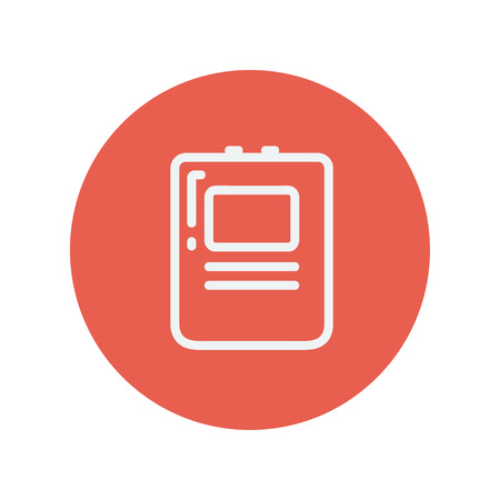 cardioverter: Heart Defibrillator thin line icon for web and mobile minimalistic flat design. Vector white icon inside the red circle.