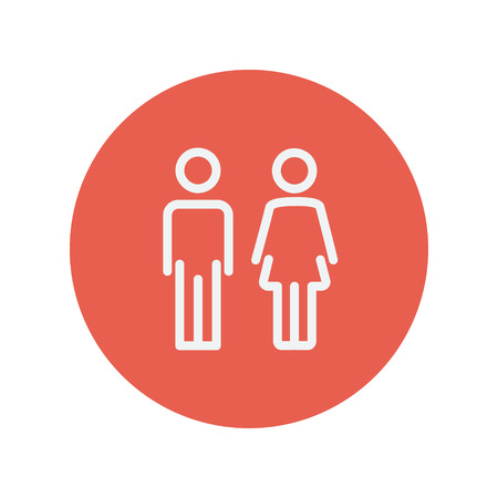 Male and female  uterus and ovaries thin line icon thin line icon for web and mobile minimalistic flat design. Vector white icon inside the red circle.