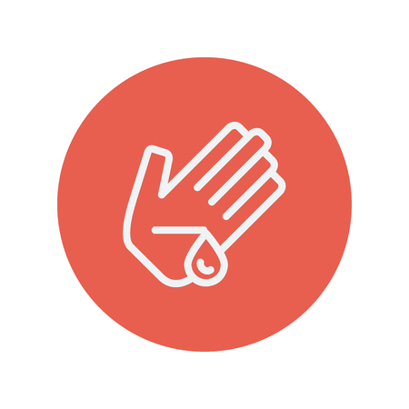 tip style design: Wounded palm wash thin line icon thin line icon for web and mobile minimalistic flat design. Vector white icon inside the red circle. Illustration