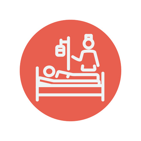 attending: Nurse attending a sick patient thin line icon for web and mobile minimalistic flat design. Vector white icon inside the red circle