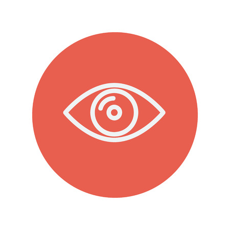 vactor: Eye thin line icon for web and mobile minimalistic flat design. Vector white icon inside the red circle
