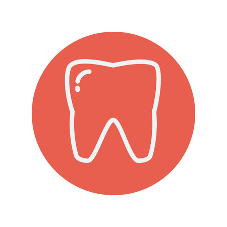Tooth thin line icon for web and mobile minimalistic flat design. Vector white icon inside the red circle Çizim