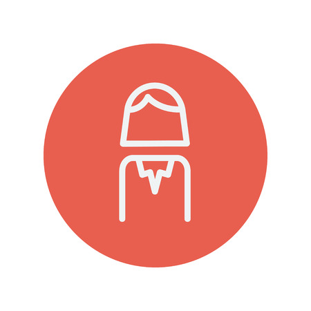 womanliness: Female thin line icon for web and mobile minimalistic flat design. Vector white icon inside the red circle