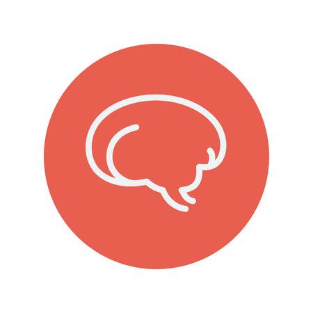 talamo: Cerebro humano icono de l�nea delgada para web y dise�o plano m�vil minimalista. Vector icono blanco dentro del c�rculo rojo