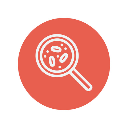 ameba: Microorganism under magnifier thin line icon for web and mobile minimalistic flat design. Vector white icon inside the red circle Illustration