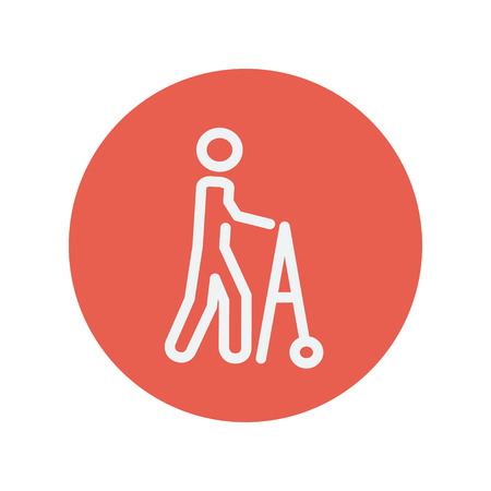 Disabled person with walker thin line icon for web and mobile minimalistic flat design. Vector white icon inside the red circle