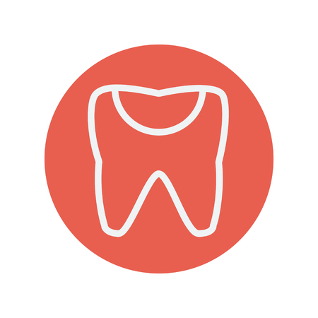 chipped: Broken tooth thin line icon for web and mobile minimalistic flat design. Vector white icon inside the red circle Illustration