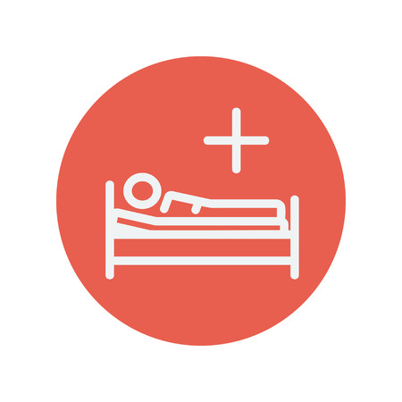 sickbed: Medical bed with patient thin line icon for web and mobile minimalistic flat design. Vector white icon inside the red circle Illustration