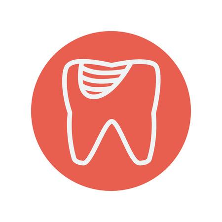 diente caries: La caries dental icono de l�nea delgada para web y dise�o plano m�vil minimalista. Vector icono blanco dentro del c�rculo rojo