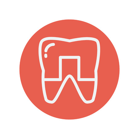 crowned: Crowned tooth thin line icon for web and mobile minimalistic flat design. Vector white icon inside the red circle
