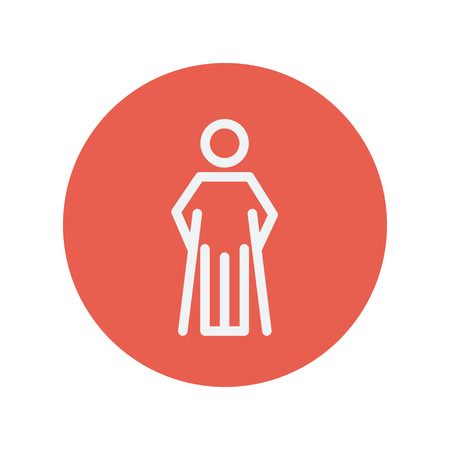forearm: Injured man with crutches thin line icon for web and mobile minimalistic flat design. Vector white icon inside the red circle