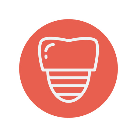 titanium: Tooth implant thin line icon for web and mobile minimalistic flat design. Vector white icon inside the red circle