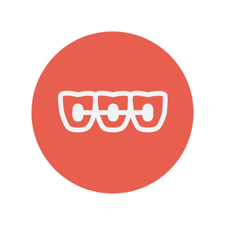 orthodontic: Orthodontic bracess thin line icon for web and mobile minimalistic flat design. Vector white icon inside the red circle