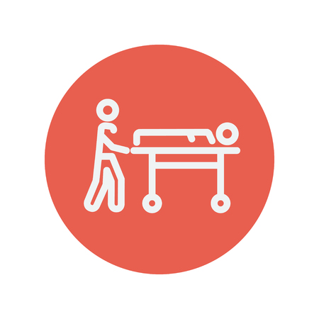 man pushing: Man pushing the stretcher with sick person thin line icon for web and mobile minimalistic flat design. Vector white icon inside the red circle Illustration