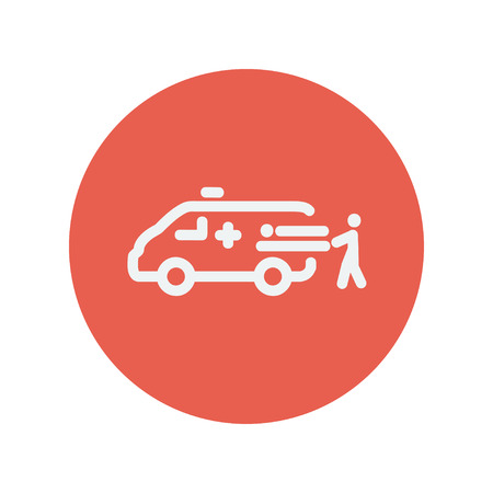facilitate: Man and ambulance car thin line icon for web and mobile minimalistic flat design. Vector white icon inside the red circle
