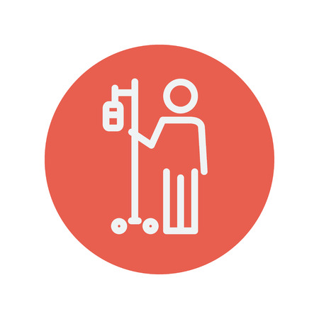 sickbed: Patient thin line icon for web and mobile minimalistic flat design. Vector white icon inside the red circle Illustration