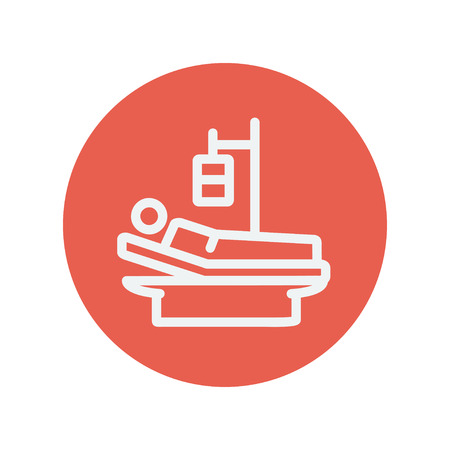 lying in bed: Sick man resting in bed with IV saline solution thin line icon for web and mobile minimalistic flat design. Vector white icon inside the red circle Illustration