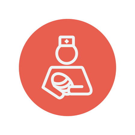conceived: Nurse holding the baby thin line icon for web and mobile minimalistic flat design. Vector white icon inside the red circle