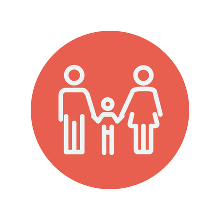 beginnings: Family thin line icon for web and mobile minimalistic flat design. Vector white icon inside the red circle