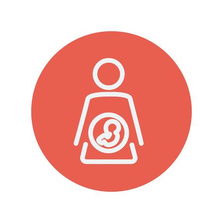 Baby Fötus im Mutterleib dünne Linie Symbol für Web und mobile minimalistisch flache Bauweise. Vektor-Schaltflächen innerhalb des roten Kreises