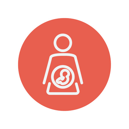 Baby fetus in mother womb thin line icon for web and mobile minimalistic flat design. Vector white icon inside the red circle Vectores