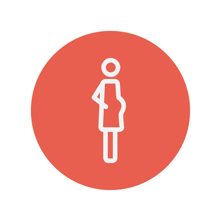 Pregnant woman thin line icon for web and mobile minimalistic flat design. Vector white icon inside the red circle