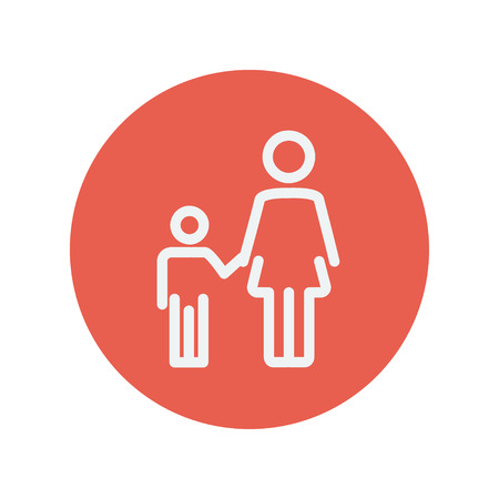 beginnings: Mother and child thin line icon for web and mobile minimalistic flat design. Vector white icon inside the red circle