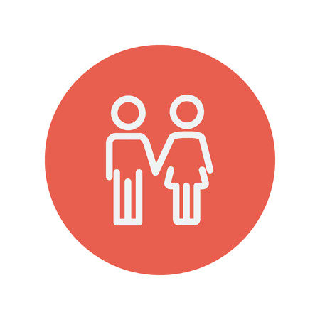 siblings: Little siblings thin line icon for web and mobile minimalistic flat design. Vector white icon inside the red circle Illustration