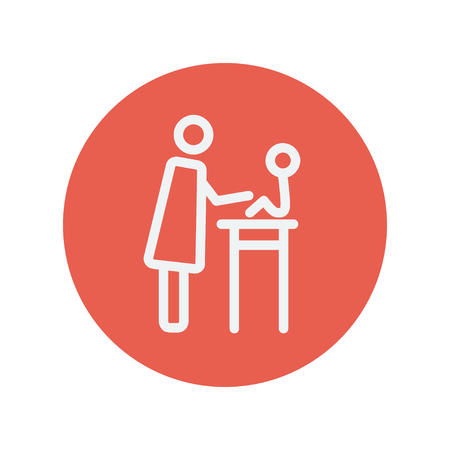 high chair: Mother taking care of her baby sitting on high chair thin line icon for web and mobile minimalistic flat design. Vector white icon inside the red circle Illustration