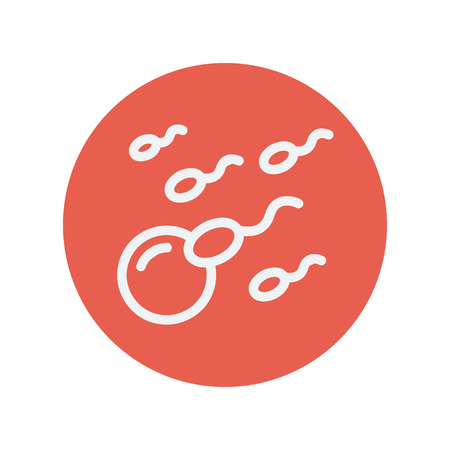 sex cell: Sperm and egg cells thin line icon for web and mobile minimalistic flat design. Vector white icon inside the red circle