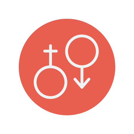 Male and female thin line icon for web and mobile minimalistic flat design. Vector white icon inside the red circle Illustration