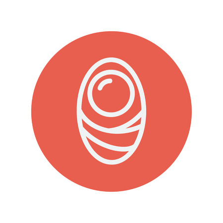 Human cell thin line icon for web and mobile minimalistic flat design. Vector white icon inside the red circle