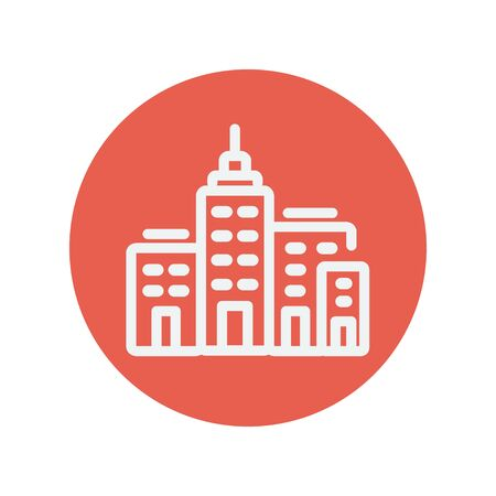high rise buildings: Condominium building thin line icon for web and mobile minimalistic flat design. Vector white icon inside the red circle