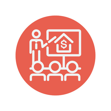 sociologist: Real Estate agent seminar on how to earn money thin line icon for web and mobile minimalistic flat design. Vector white icon inside the red circle Illustration