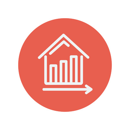real estate growth: Graph showing financial real estate growth thin line icon for web and mobile minimalistic flat design. Vector white icon inside the red circle