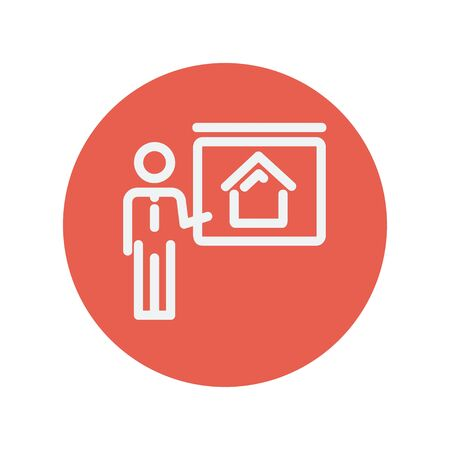 sociologist: Real estate training thin line icon for web and mobile minimalistic flat design. Vector white icon inside the red circle