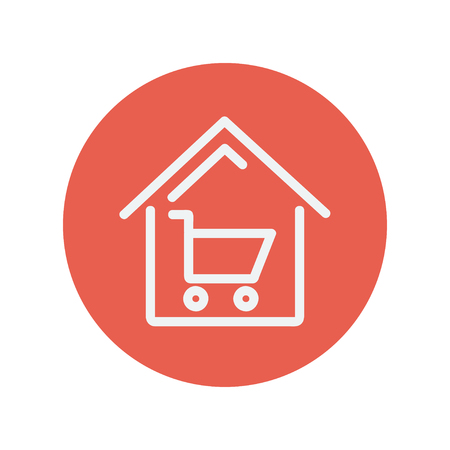 house shopping: House shopping thin line icon for web and mobile minimalistic flat design. Vector white icon inside the red circle Illustration