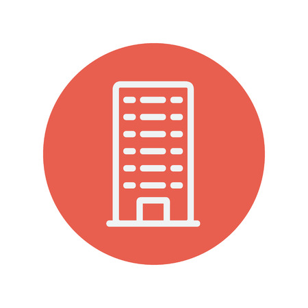 Office building thin line icon for web and mobile minimalistic flat design. Vector white icon inside the red circle
