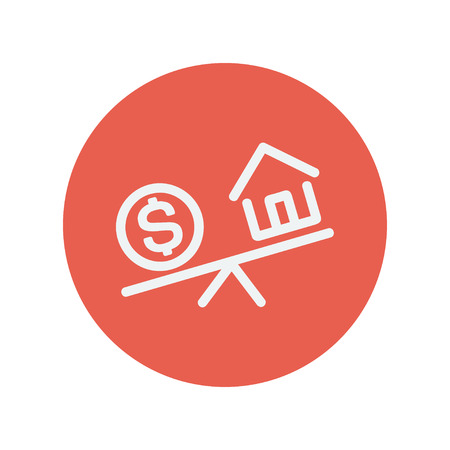house exchange: Compare or exchange house to money thin line icon for web and mobile minimalistic flat design. Vector white icon inside the red circle Illustration