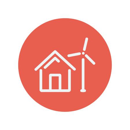 Casa con l'icona linea mulino a vento sottile per il web e mobile design piatto minimalista. Vector icona bianca all'interno del cerchio rosso Archivio Fotografico - 42341560