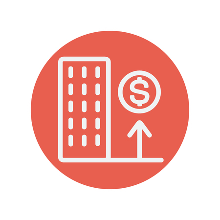 Good location high price thin line icon for web and mobile minimalistic flat design. Vector white icon inside the red circle