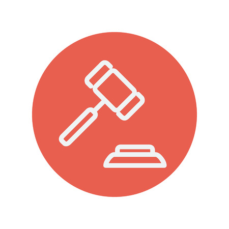 ruling: Gavel thin line icon for web and mobile minimalistic flat design. Vector white icon inside the red circle