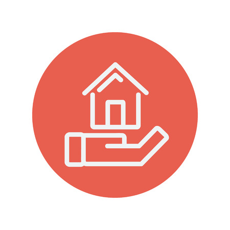 hand holding house: Hand holding house thin line icon for web and mobile minimalistic flat design. Vector white icon inside the red circle
