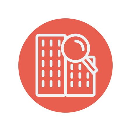 proprietary: Search building thin line icon for web and mobile minimalistic flat design. Vector white icon inside the red circle Illustration