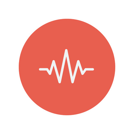 oscillate: Sound wave beats thin line icon for web and mobile minimalistic flat design. Vector white icon inside the red circle